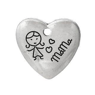 Zilveren bedeltje hartje mama moederdag hartjes