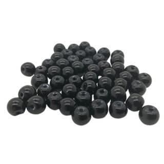 Glas parel rond zwart 6mm