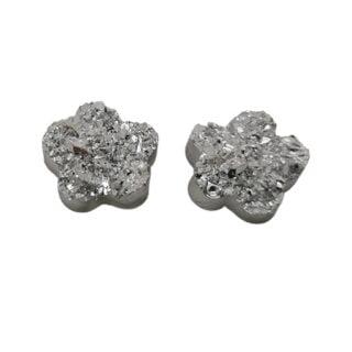 Zilveren druzy cabochons druzy bloemetje