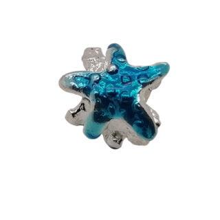 Zilveren kralen blauwe zeester groot rijggat