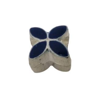 Donkerblauwe bloem kraal zilver metaal groot rijggat