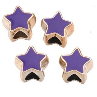 Gouden kralen sterren paars groot rijggat