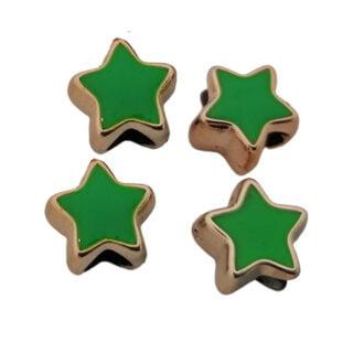 Ster kraal groen goud kunststof groot rijg gaatje