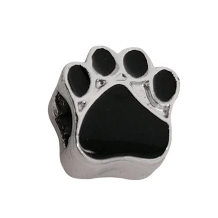Hondenpoot kralen zwart zilveren groot rijggaatje