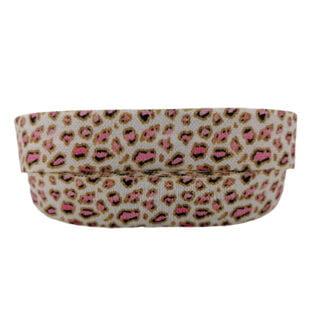 Dierenprint lint elastisch panter roze caramel 15mm