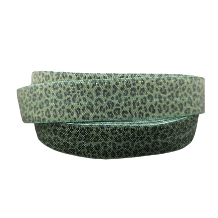 Leopard elastiek koord 15mm bias band mos groen