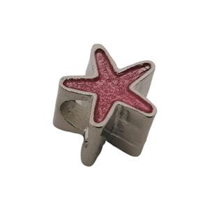 Kralen zilver roze zeester metaal groot gat