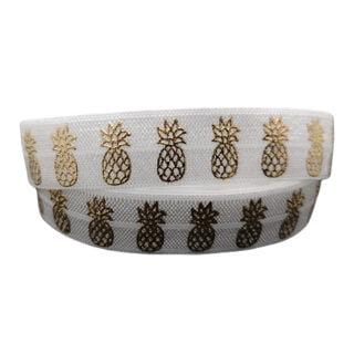 Breed wit elastiek met ananas goud 15mm