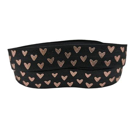 Zwart elastiek lint 15mm hartjes rosé goud
