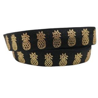 Ananas lint goud zwart 1.5cm breed elastiek