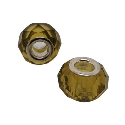 Groot gat kraal olijf groen zilver groot rijg gat 5mm
