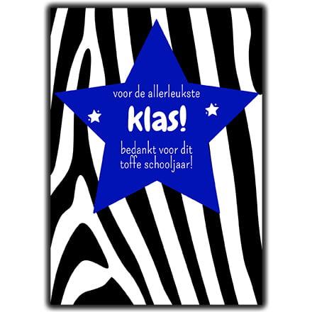 Bedank kaart school trakteren voor de leukste klas blauwe ster zebra print