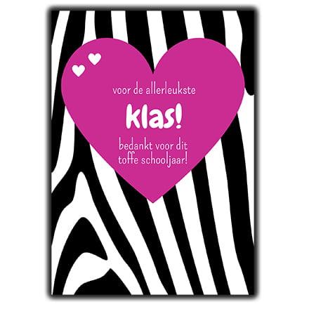 Sieraden bedankjes wenskaart roze hartje zebra voor de leukste klas bedankt voor het toffe schooljaar