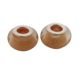 Light peach zilveren kraal met groot rijg gaatje 5mm