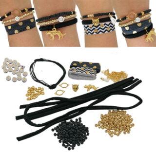 Zelf maak armbanden pakket goud zwart panter
