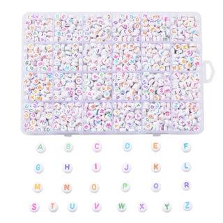 Letterkralen assortimentsdoos wit gekleurd plat rond naam sieraden zelf maken