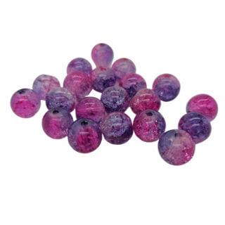 Glaskraaltjes rond paars roze 8mm crackle