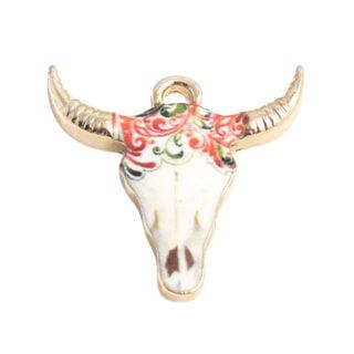 Buffel skull bedeltje goud gekleudr wit
