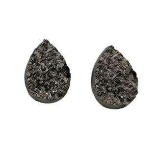 Duzy druppel cabochons zwart grijs