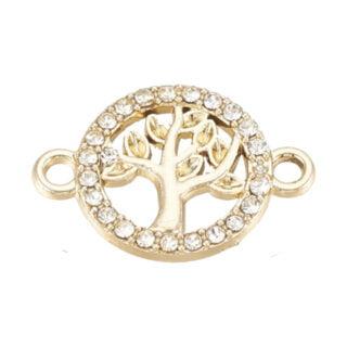 Tussenzetter 2 oogjes rond goud levensboom rhinestone strass