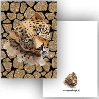 Cadeau wenskaart leopard black trendy