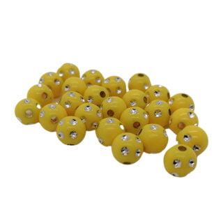 Kralen rond geel zilver 8mm