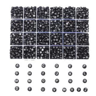 Letterkralen plat rond zwart in bewaardoos 1776 stuks