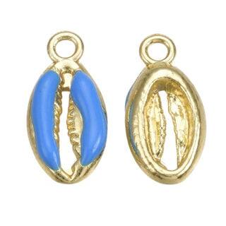 Kauri schelpkralen bedel blauw gouden hangers