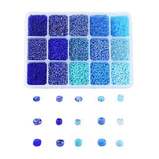 Blauwe rocaille kralen glas 2mm opberg doosje
