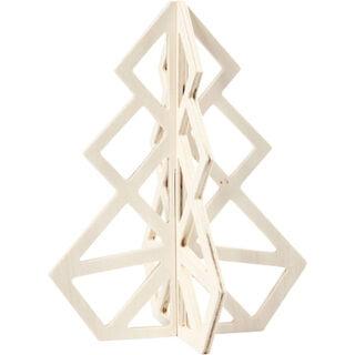 Kerstboom blanke houten geometrisch