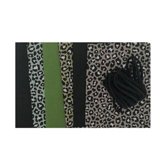 Zelf maak pakket trendy stofjes leopard zwart groen taupe mondkapje niet medisch