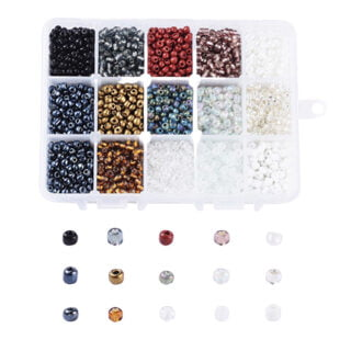Rocailles glaskraaltje sorteerdoos 4mm mix