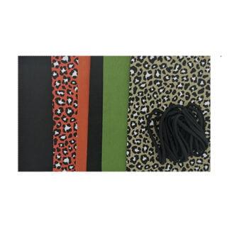 DIY complete set niet medische mondkapje zelf maken trendy prints leopard roest bruin olijf groen zwart
