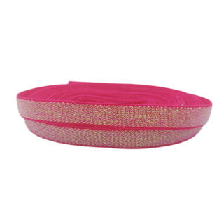 Elastisch lint roze glitter ab 10mm breed