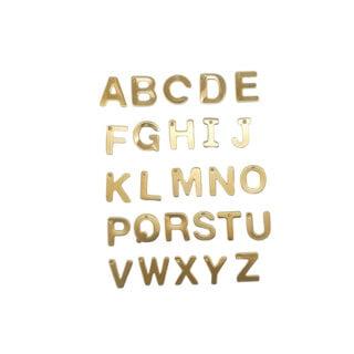 RVS lettertjes bedels initialen goud