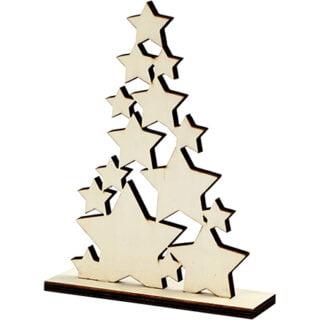 Blanke houten kerstboom sterren