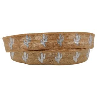 Beige brown elastisch lint 15mm cactussen zilver