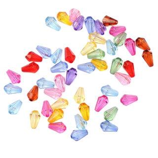 Facet kralen druppel mix color 9mm acryl