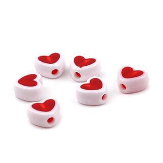 Rood witte hartjes kraal 9mm kunststof