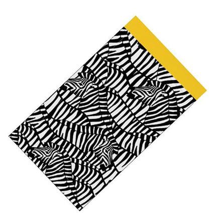 Cadeau verpakkingszakje zwart wit geel zebra 19cm 13cm 25cm