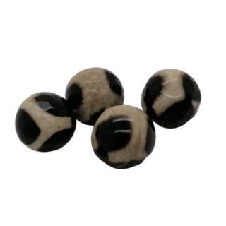 Gemstone kralen black beige 8mm