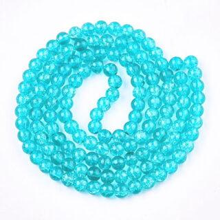 Glazen kralen crackle rond aqua blauw