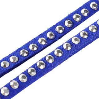 Suede veters blauw zilveren studs faux