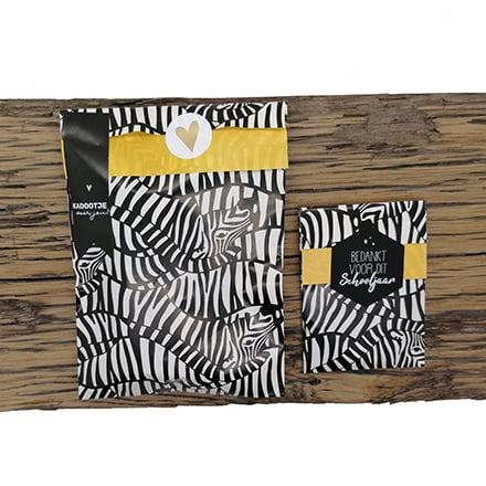 Cadeau inpakken zakjes zebra sluitstickers