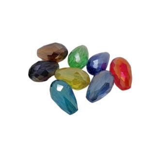 Glaskralen mixed color druppel facet ab olie glans 15mm
