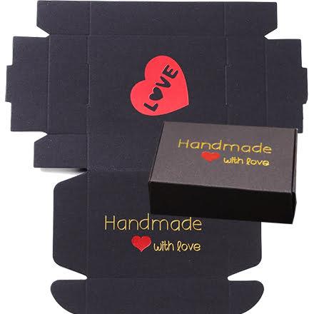 Zwarte cadeau verpakking doosje hand made with love goud rood