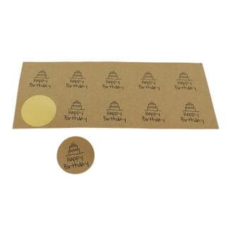 Ronde kraft stickers happy birthday taart 3cm