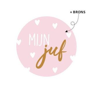 Ronde wensstickers rond roze mijn juf cadeautje juffendag inpakken