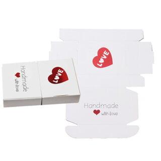 Sieraden cadeau doosje wit rood handmade with love