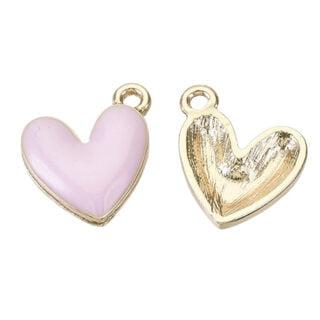 Licht roze gouden hartjes bedeltjes metalen